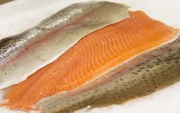 Salmon trout filet with skin (boned)