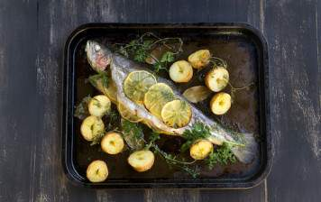 Oven baked whole seabass