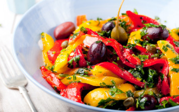 Grilled peppers with basil,...